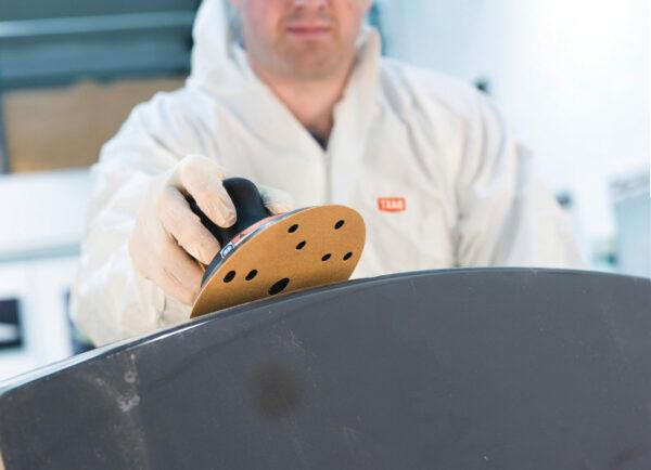 d6 150mm velcro abrasive disc in use